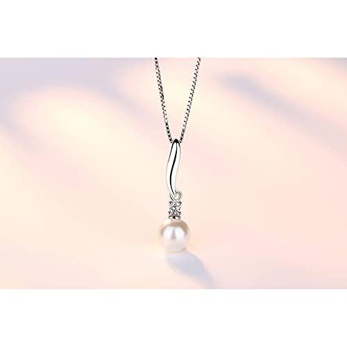 QiuYueShangMao Collar Colgante joyería para Mujer Collar Colgante de Perlas de circonita de Cristal Novia, Esposa, Hija, Madre
