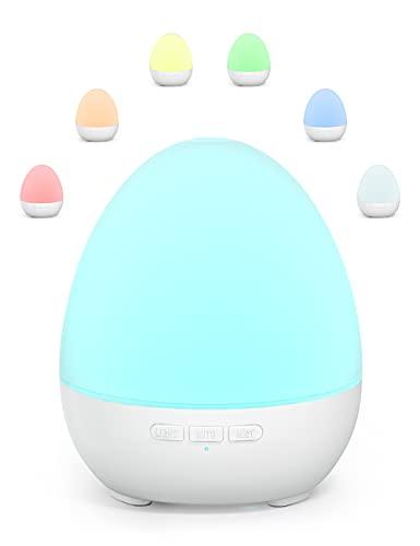 Mini Aroma Diffuser 150ml Kinder Diffusor, Etersky Ultraschall Ätherische Öle Luftbefeuchter für Duftöle, Raumduft Duftlampe mit 7 Farben Nachtlicht, BPA-Frei Leise Aromatherapie für Baby