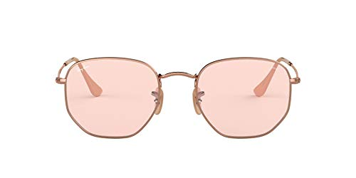 Ray-Ban RB3548N Hexagonal Evolve Photochromic Flat Lenses Sunglasses, Copper/Pink Photochromic, 54 mm