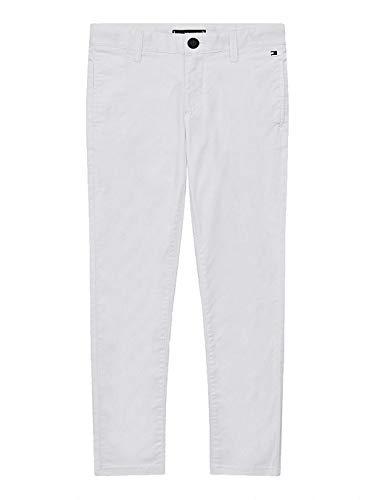 Tommy Hilfiger Essential TH Flex Skinny Chinos Pantaloni, White, 12 Bambino