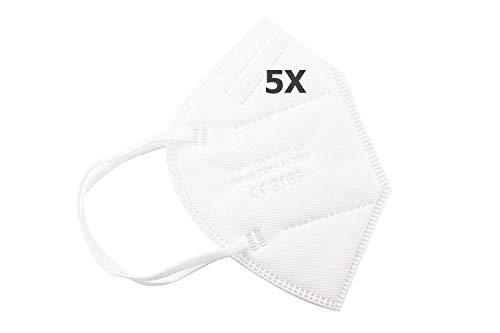 TBOC Mascarillas FFP2 -  [Pack 5 Unidades] Máscaras Desechables [Color Blanco] 5 Capas [No Reutilizables] Transpirables Plegables con Pinza Nasal [Certificadas y Homologadas CE 2163]