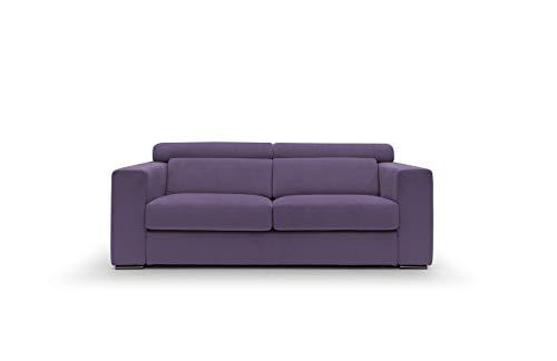 Sofá fijo de tela suave totalmente desenfundable, modelo Titan de 3 plazas o esquinero con chaise longue derecha o izquierda, estructura de madera, fabricado en Italia, color morado, 3 plazas