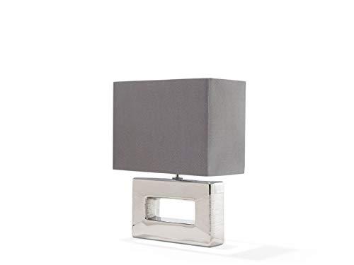 Beliani Tischlampe dekorrativer Lampenfuß rechteckig Kunstseide/Porzellan Silber Onyx