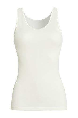 con-ta Achselhemd, weiche Unterwäsche für Damen, klassisches Unterhemd, bequemes Top aus Wolle und Modal, Trägertop in Wollweiß, Größe: 38