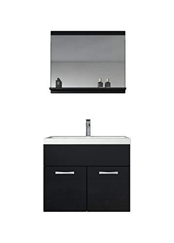 Badezimmer Badmöbel Set Montreal 02 60cm Waschbecken Hochglanz Schwarz Fronten - Unterschrank Waschtisch Spiegel Möbel