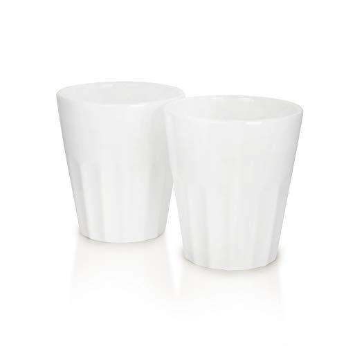 Mahlwerck Porzellan Cappuccino-Tassen, Kaffee-Becher French Style, weiß, 280ml, 2er Set