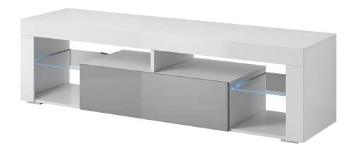 """e-Com Mobile per TV """"Titan"""" con LED, da 140 cm, di colore bianco e grigio"""
