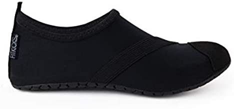 FitKicks Original Women's Foldable Active Lifestyle Minimalist Footwear Barefoot Yoga Sporty Water Shoes (Medium, Black V2)