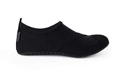 FitKicks Original Women's Foldable Active Lifestyle Minimalist Footwear Barefoot Yoga Sporty Water Shoes (Large, Black V2)