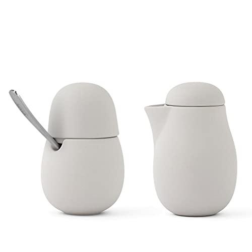 VIVA scandinavia Milchkännchen & Zuckerdosen-2er Set für Kaffee und Tee aus Porzellan mit Edelstahl-Löffel, Matt Sand Grau