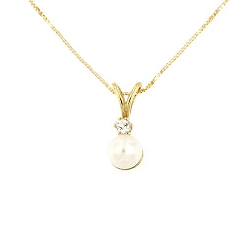 Lucchetta - Catenina con Perla Vera e Topazio Naturale in Oro Giallo 18 carati, lunghezza 45cm riducibile a 42, Collana d'Oro Donna - Made in Italy, XD1448-VE38-N