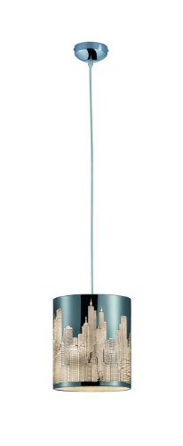 Reality lampen, hanglamp, City Lasercut, 1x E14 maximaal 60 W zonder lamp, diameter 20 cm, hoogte maximaal 150 cm, folie wit, chroom R30081006