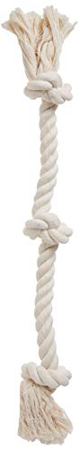 Flossy Chews 100-Percent Cotton White 3-Knot Rope Tug, Large, 25-Inch