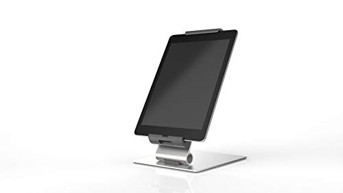 Durable Tablet Holder Desk Stand (7-13 Inches, 360 Degrees Rotation with Anti-Theft Device) Silver/Charcoal (893023)