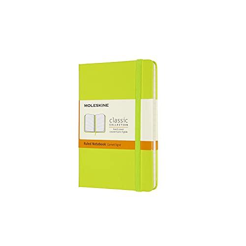 Moleskine - Classic Notebook, Taccuino a Righe, Copertina Rigida e Chiusura ad Elastico, Formato Pocket 9 x 14 cm, Colore Verde Limone, 192 Pagine