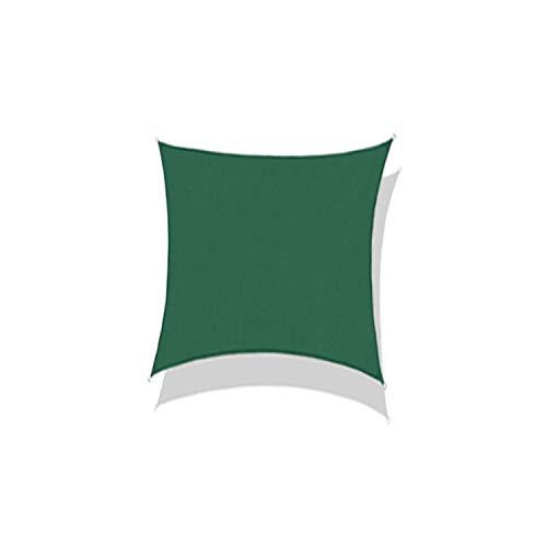 THJ Toldo de polietileno de alta densidad para exteriores, cuadrado, impermeable, resistente al agua y a los rayos UV (3 x 3 m, verde oscuro)