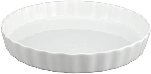 GOURMEX White, Round, Fluted Quiche Baking Dish | Ceramic Pan | Perfect for Baking Tart Pies, Creme Brulee, Custard Dishes and Cheesecake | Porcelain 10 Inch Pan (10' Round)