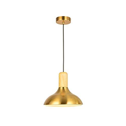 Luz colgante moderna Pequeña cordillola de la cabeza de una sola cabeza todo color de cobre de latón + araña de madera dormitorio de noche lámpara de cama barra de barra de barra de barra de barra de