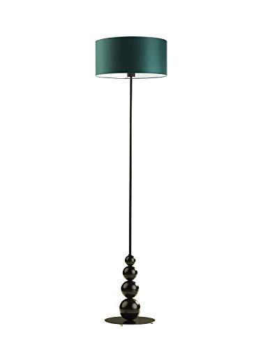 Lámpara de pie Roma con pantalla verde botella marco negro