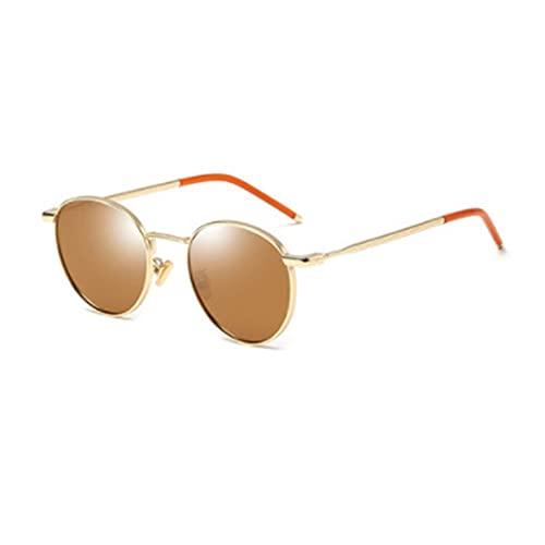 QIFFIY Gafas de Sol polarizadas Redondas Mujeres de Moda Retro Hong Kong Estilo Pequeño Cara Vidrios Fashion Street Anti UVA Gafas de Sol (Color : Gold Frame Brown Film)