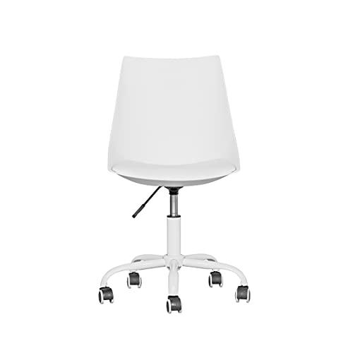 Sedia da ufficio ergonomica moderna e girevole per casa, ufficio, con schienale di medie dimensioni e ruote in poliuretano dello stesso colore, sgabello da ufficio senza bracci, bianco