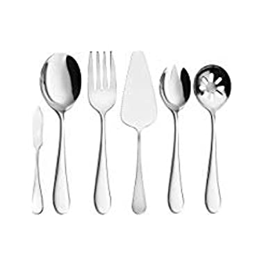 Serving Utensils, AOOSY 6 Pieces Basics Serving Set Flatware Set Complete 18/10 Stainless Steel Knife Spoons Fork Slotted Spoon For Home Chef Commercial Use Breakfast Buffet Dinner Set Tableware