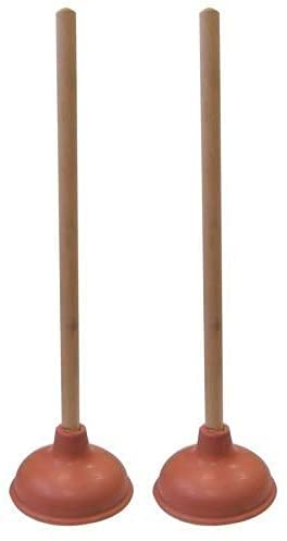 Supply Guru SG1976 Heavy Duty Force Cup Rubber Toilet Plunger with a Long Wooden Handle to Fix Clogged Toilets and Drains (18