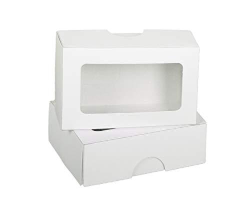 100 erka Schachteln Boxen für Visitenkarten | 58x90x30mm, weiß, Stülpkarton, blanko, Vollpappe, 400g/m², für je 100 Karten, Visitenkartenschachteln - mit Sichtfenster