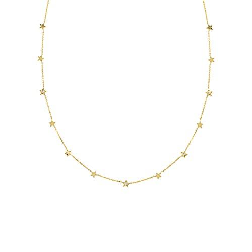Collar ajustable de oro amarillo de 14 quilates con 5 diamantes de 07 tcw y estrellas de 46 centímetros