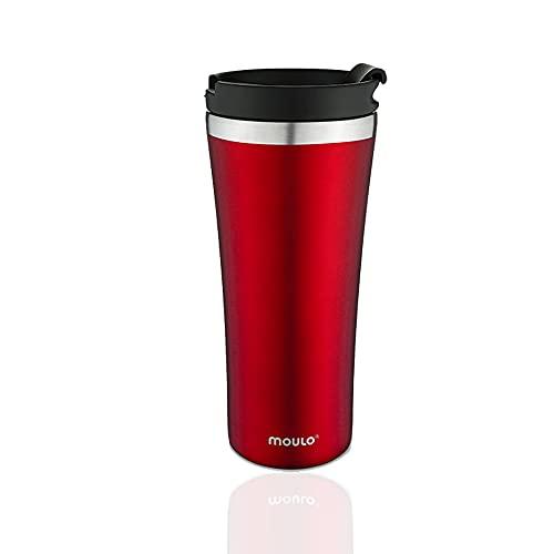 Moulo Core Thermobecher aus Edelstahl, 470 ml Isolierbecher in rot, Kaffeebecher to go, auch für die Tee geeignet, auslaufsicher