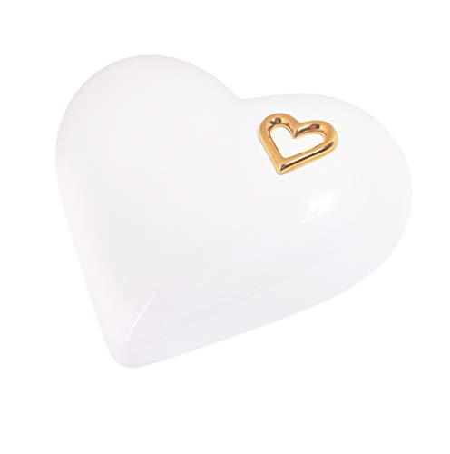 Élégante urne funéraire en céramique en forme de cœur pour cendres - Urne funéraire unique (Blanc)