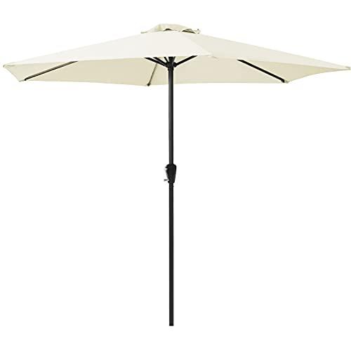 Parasol de 2,7 m para jardín al aire libre, tubo de acero...