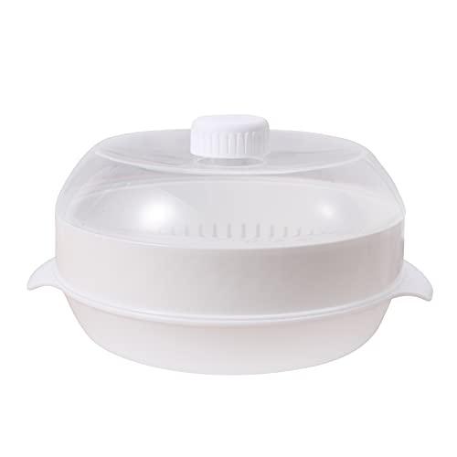 MSemis Dampfgarer für die Mikrowelle mit Siebeinsatz Mikrowellengeschirr aus PP Kunststoff Weiß One Size