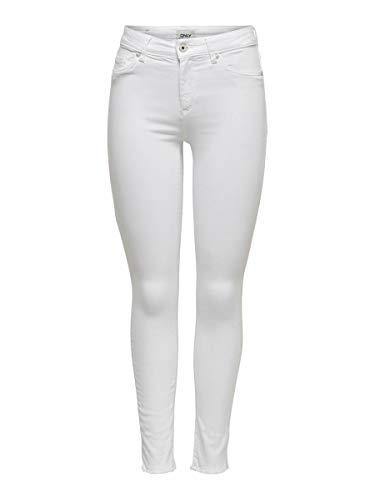 ONLY Damen Onlblush Mid Ank Raw Rea0730noos Skinny Jeans, Weiß (White White), L EU