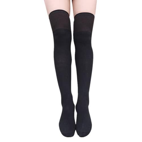 Damen Kniestrümpfe Einfarbig Overknee Strümpfe Teenager Mädchen College-Rock Strümpfe Socken Baumwolle Atmungsaktiv Basic Überknie Schüler Knitting Sportsocken