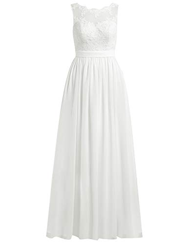 Brautkleider Lang A-Linie Spitze Chiffon Rückenfrei Hochzeitskleider Damen Standesamt Kleid Ärmellos Schlicht Elfenbein 58