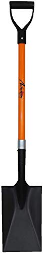 Ashman Spade - 41 Inches Long Handle Spade with D Handle Grip - Fiber Glass Handle with a Thick Metal Blade, Weighing 2.2 Pounds - Multipurpose Premium Quality Orange Shovel with Strong Build