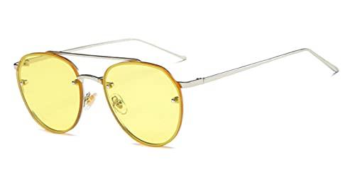 N\C Gafas de Sol de Moda y Coloridas Gafas de Sol Marinas Europeas y Americanas Gafas de Lente de Bloqueo sin Montura Espejo de Sapo