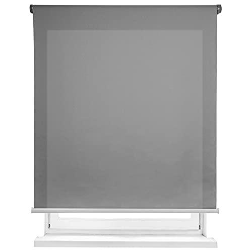 MERCURY TEXTIL-Estor Enrollable translúcido Liso (Gris, 90x180cm)