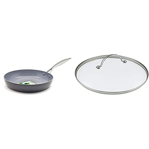 GreenPan Frying Pan, Non Stick, Toxin Free Ceramic Pan - Induction & Oven Safe Cookware - 26 cm, Grey & Glass Lid with Metal Handle, Stainless Steel Rim - Fits 30 cm Pots & Pans - Transparent