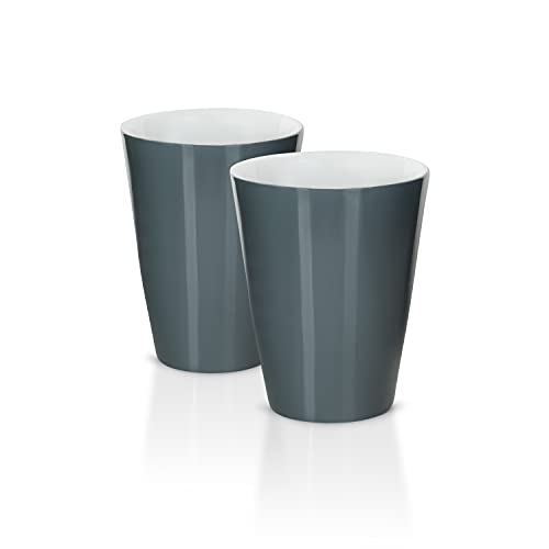 Mahlwerck Kaffeebecher Solo aus Porzellan, Latte Macchiato oder Cappuccino Tasse, Becher ohne Henkel, 2er Set, 370ml, grau
