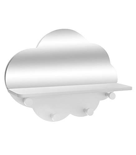 Atmosphera haaklijst wolk, met 4 haken en spiegels, hoogte 28 cm, wit cm Wit.