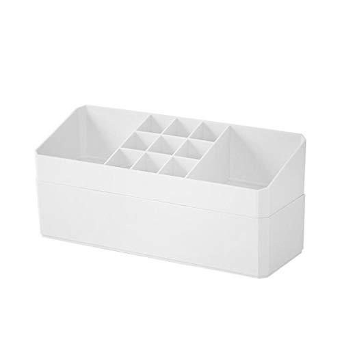 XYZMDJ Caja de almacenamiento de cosméticos simple de plástico, caja de acabado de joyería, caja de algodón para escritorio, hisopo de algodón cosmético (color: A)