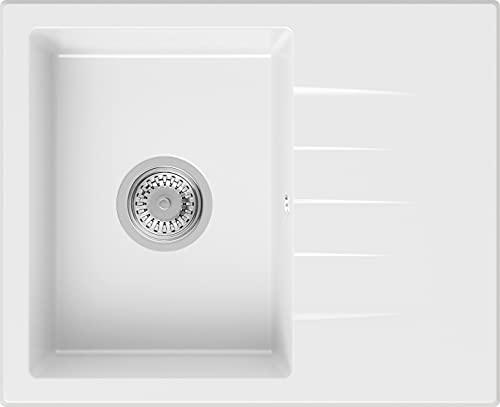 PRIMAGRAN Fregadero de Granito - Milán, Lavabo Cocina Un Seno + Sifón Clásico, Fregadero Empotrado 58,5 x 46,5 cm, Blanco