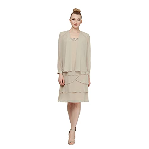 S.L. Fashions Women's Embellished Tiered Jacket Dress (Petite and Regular), Champagne, 16P (Apparel)