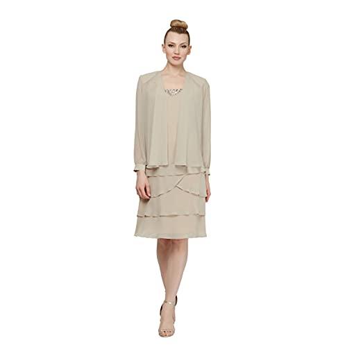 S.L. 패션 여성의 신부의 어머니 두 조각 재킷 드레스 구슬과 함께