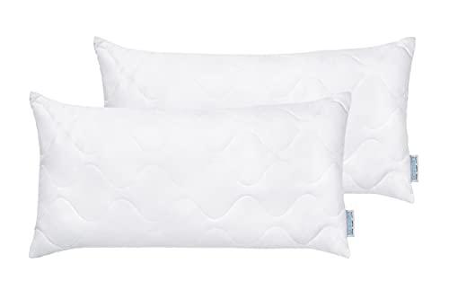 REGINA HOME SLEEP LIVING EST. 1967 Almohada de fibra (pack doble, normal, 40 x 80 cm, 100% poliéster, 400 g)