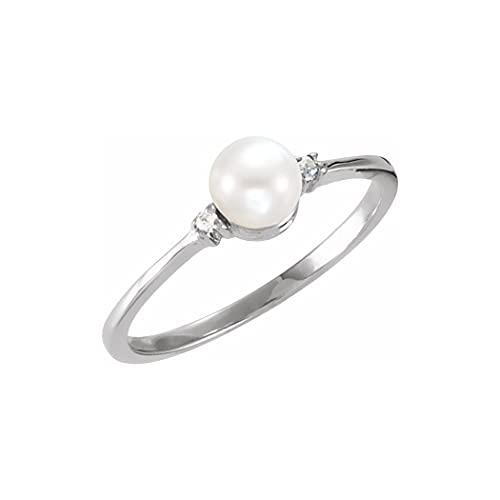 Anillo de oro blanco de 14 quilates con perla de agua dulce pulida de 7 mm y diamante de 0,025 quilates, talla N 1/2, regalo de joyería para mujer