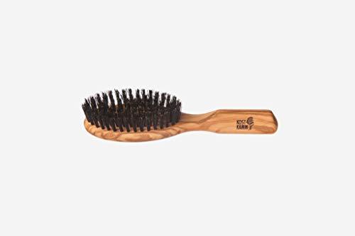 Brosse à cheveux ovale ovale en bois d'olivier et poils de sanglier noir