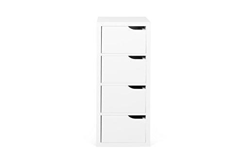 TemaHome Basics 4 tiroirs Module, 34 x 34 x 87 cm, laqué Blanc Mat